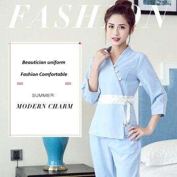 New Design!Beautician Woman Work Suit Set Beauty Salon Spa Waitress Uniform Clothing,Feline Masseuse Uniforme Set,E5