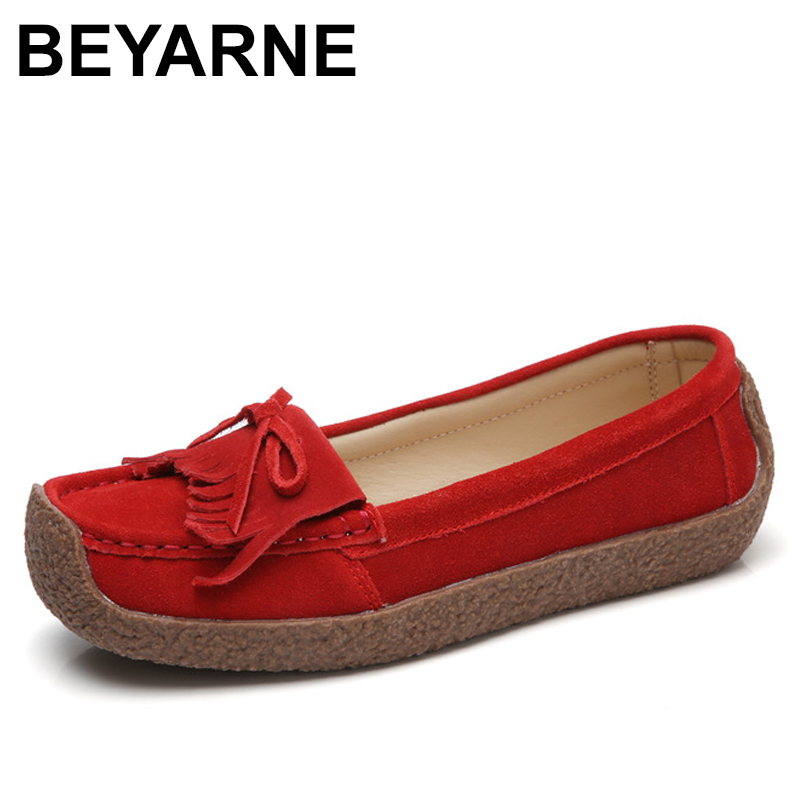 BEYARNE Women Loafers Suede Genuine Leather Loafers Soft Flats Moccasin Casual Female Slip On Tassel Boat Zapatos Mujer xizi quality genuine leather men loafers 2017 designer soft breathable casual mens leather suede flats boat shoes