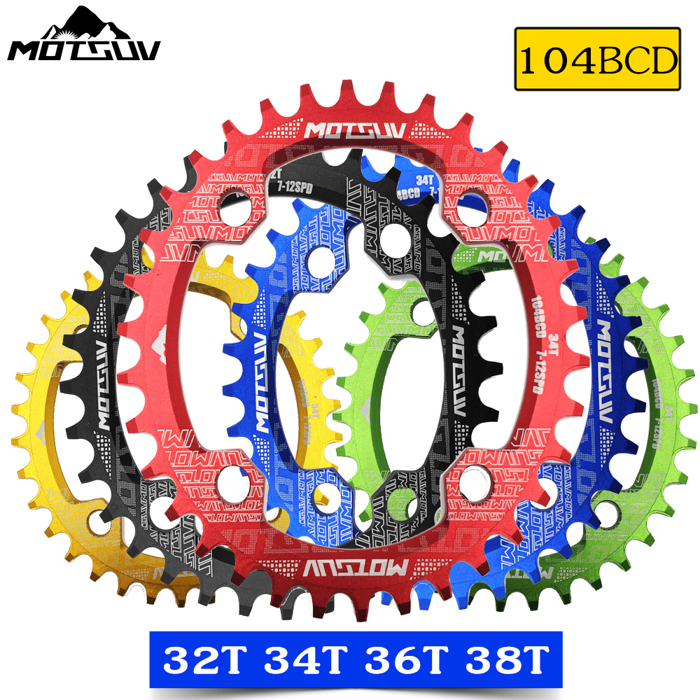 MOTSUV oval Narrow Wide Chainring MTB Mountain bike bicycle 104BCD 32T 34T 36T 38T crankset Tooth plate Parts 104 BCD|Bicycle Crank & Chainwheel| |  - title=