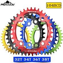 Motsuv roda dentada estreita oval, coroa dentada estreita para bicicleta mtb 104bcd 32t 34t 36t 38t peças da placa 104 bcd