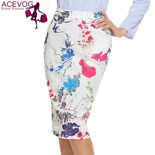 Acevog mujeres vintage style party paquete hip falda de la impresión floral elástico de cintura alta delgada de la rodilla falda lápiz volver hendidura cremallera