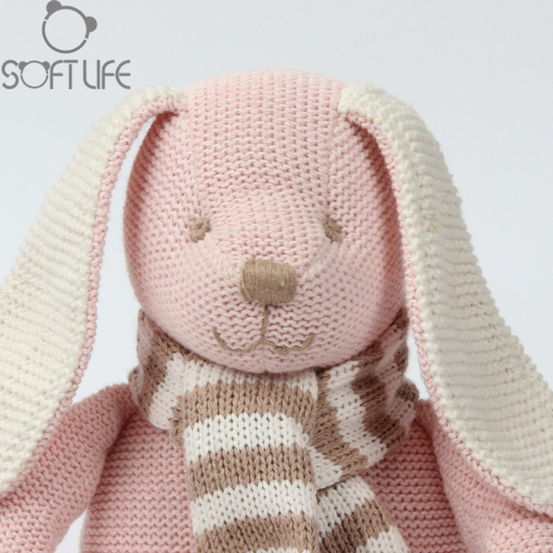 Pink Wool Cloth Rabbit Doll Doll Cotton Wool Cloth Baby Comfort