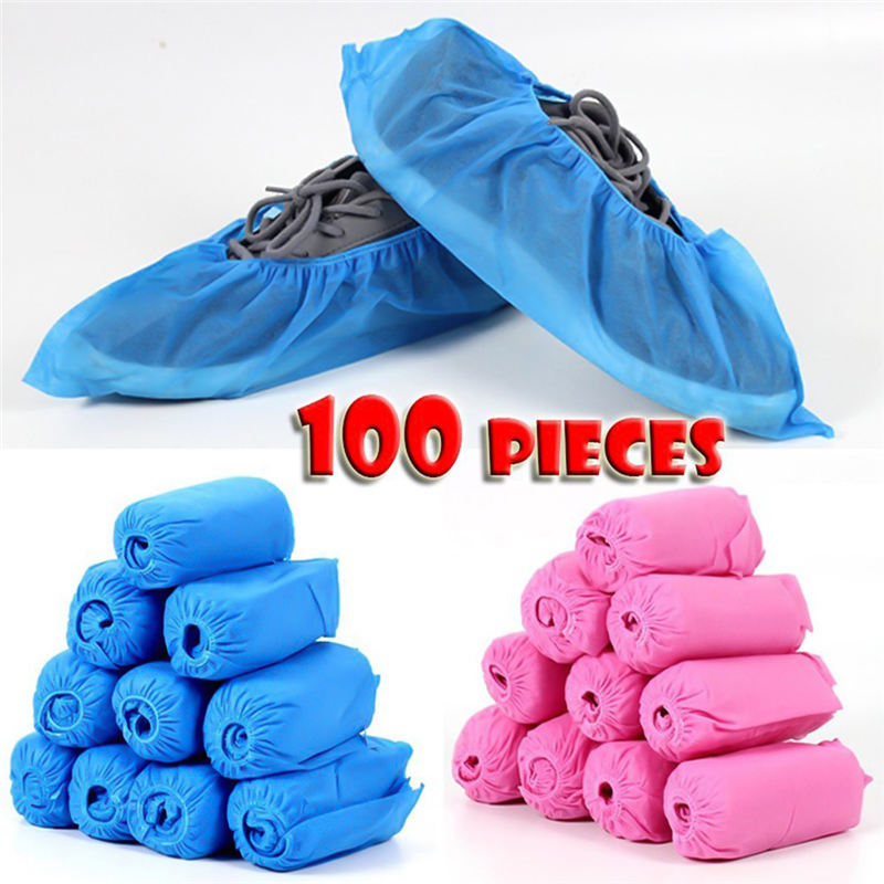 100pcs Set Medical Waterproof Boot Covers Plastic Disposable Shoes Covers Overshoes Shoes Covers Mud proof High