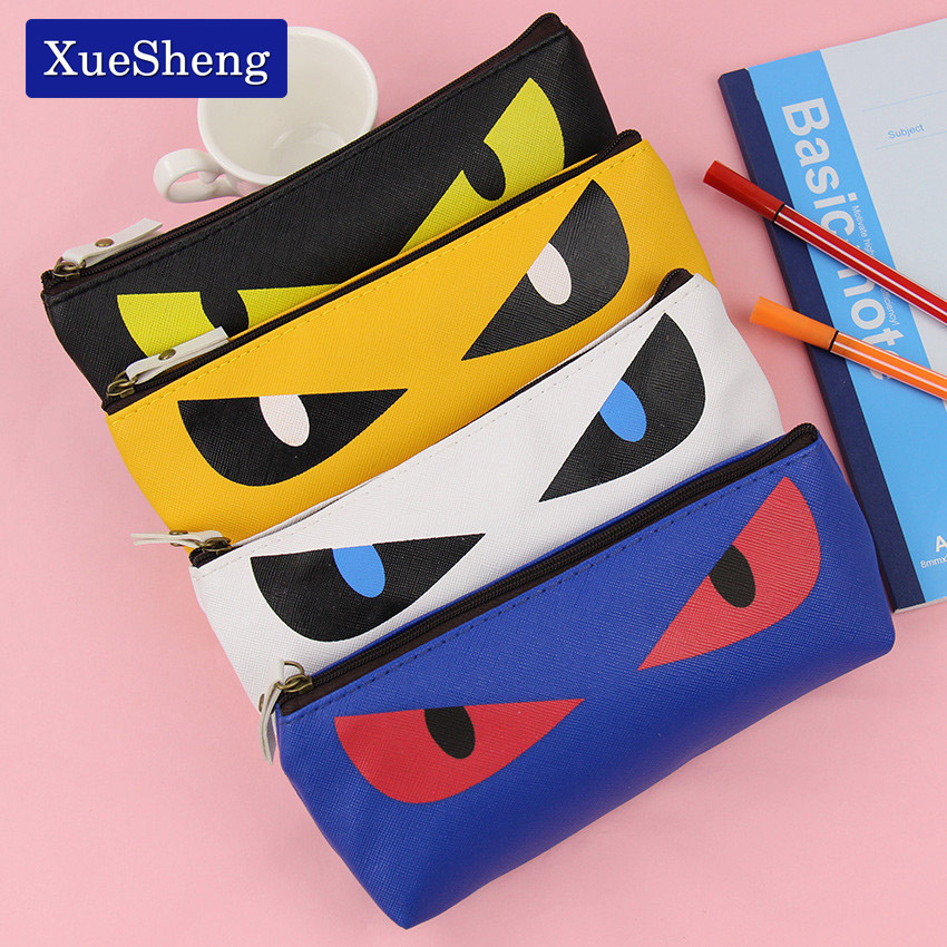 1 PC New Cute Kawaii Cat Pencil Case Pu Leather Pen Bag for Kits Student Gift Korean Stationery