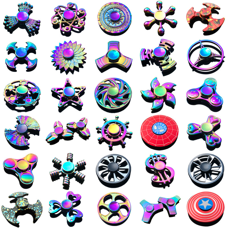 Rainbow Heptagonal Hand Spinner Fidget Zinc Alloy Metal Fidget Spinner Metal Bearing Edc Finger Spinner Hand Relieves Stress