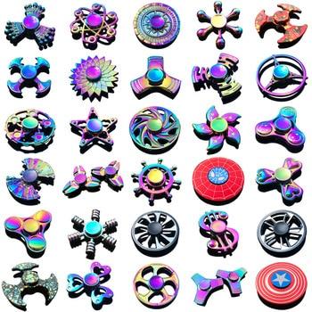 Rainbow Heptagonal Hand Spinner fidget Zinc Alloy Metal fidget spinner metal bearing edc finger Spinner Hand relieves stress three blade alloy abs fidget spinner