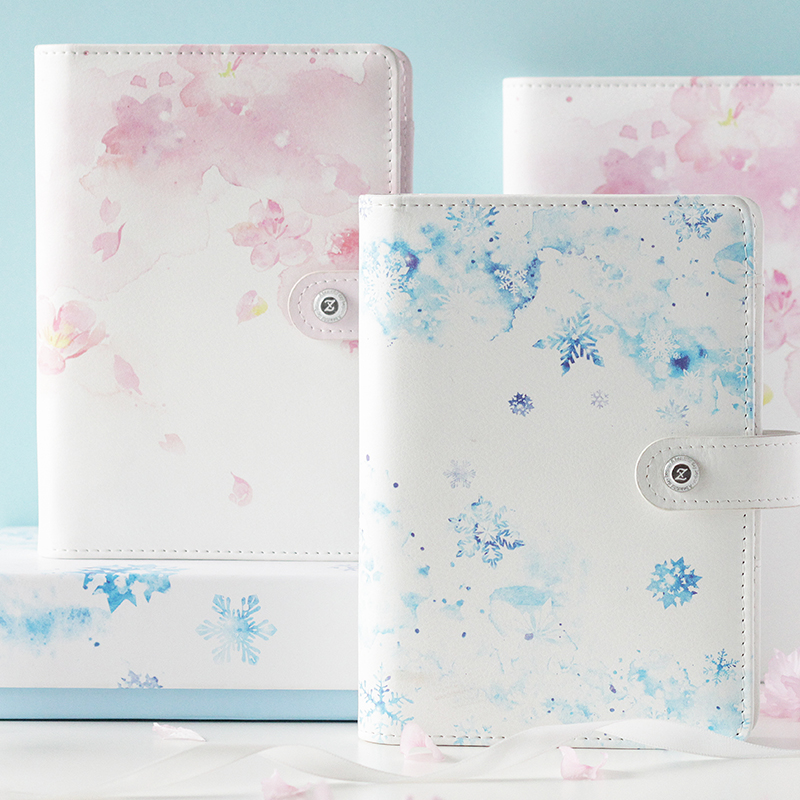 Ring PU Läder A5 / A6 Planner Binder, Sakura Ms Notebook Planner