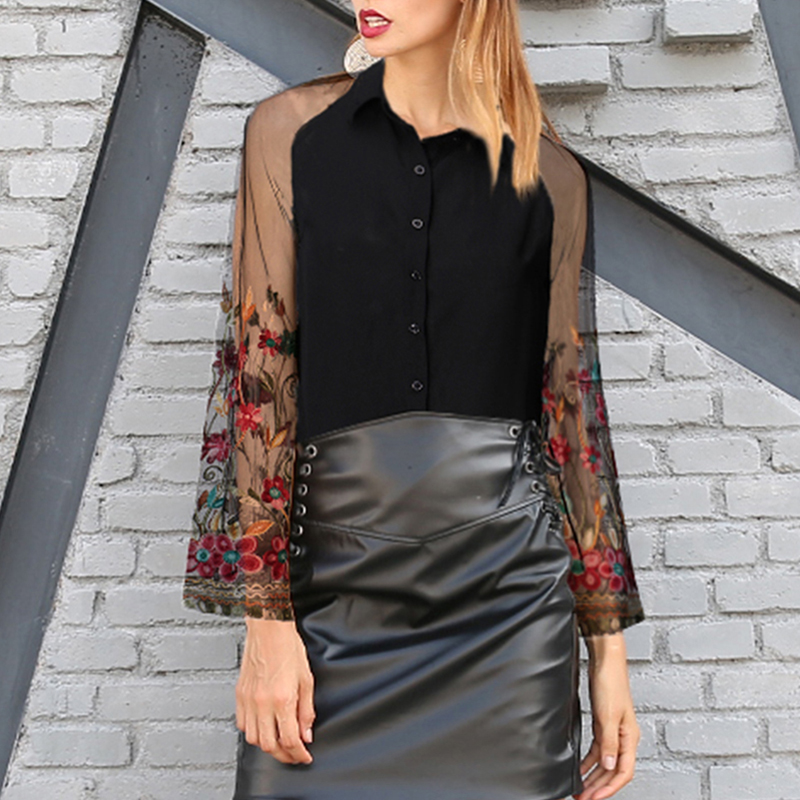 Vintage Floral Embroidery Mesh   Blouse     Shirts   2018 Autumn Elegant Sexy Women Long Flare Sleeve Splicing Casual Loose Blusas Tops