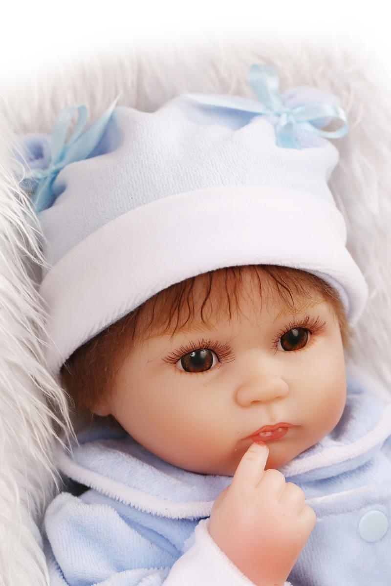 Soft Silicone Doll Lifelike Silicone Reborn Baby Doll With Clothes 45cm Reborn Doll Toys Real Hair Girls Boys Gifts Bonecas