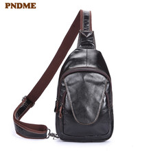 PNDME simple vintage first layer cowhide chest bag casual genuine leather messenger bags sports shoulder bag daily phone bag