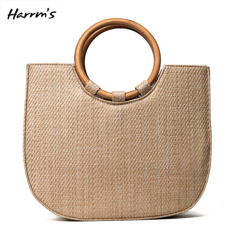 2018 Art Beach Bag Travel Handmade Straw Bag Round Wooden Handle Sweet Hot Casual Holiday Crossbody Bag Handbags Birthday Gift