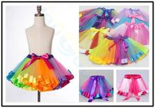 Children Day girl rainbow tutu skirt kids children party dance tulle skirts mini dress clothes birthday gift