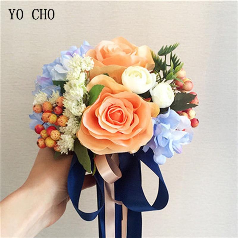 Acheter YO CHO Accueil Décoration Fleurs Jardin Chaise Escalier Tuyaux Bleu Satin Rose Pivoine DIY Église Soie De Mariage de Demoiselle D'honneur Bouquets de bridesmaid bouquet fiable fournisseurs