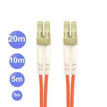 Lc duplo ao multi modo frente e verso do cabo de ligação do cabo de remendo da fibra do lc multi ótico para a rede 1m 3m 5m 10m 20m 10ft 16ft 33ft 66ft
