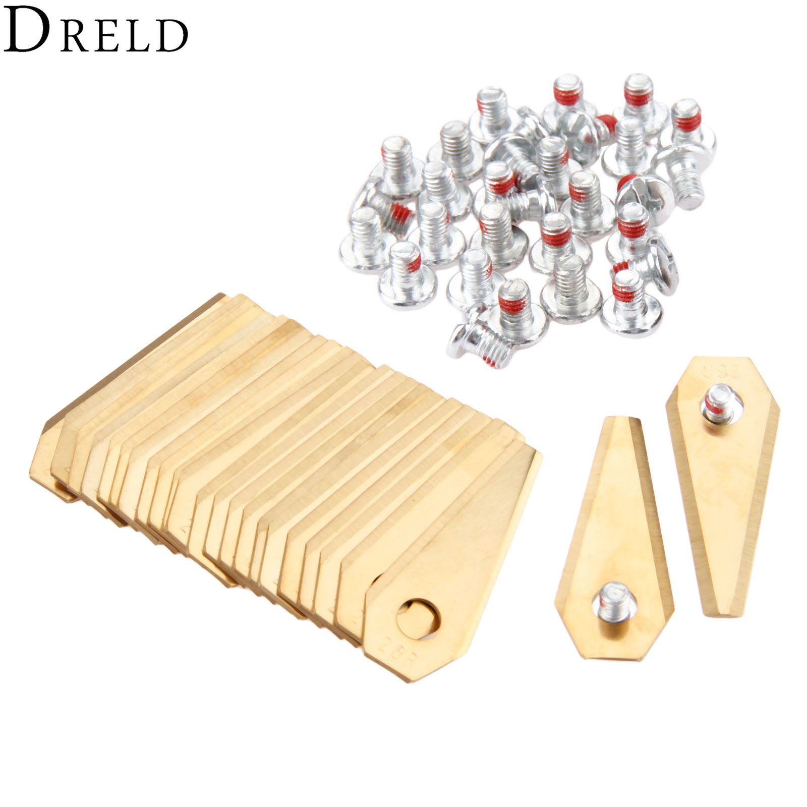 DRELD 30pcs Titanium Golden Robotic Mower Replacement Blade Fit For Bosch Indego Lawnmower With Screws Trimmer Parts Garden Tool