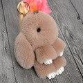 Bonito Mini Coelho Genuine Fur Pom Pom Mulheres Chaveiro Bugiganga Boneca de Brinquedo coelho Monstro Saco Anel Chave Do Carro Chaveiro Presente Da Jóia