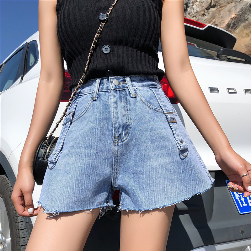 S-XL Summer High Waist Mini Shorts Feminino Korean Chic Style Denim Shorts Blue A Line Short Jeans Womens (Z6291)