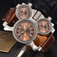OULM Мужские Часы лучший бренд класса люкс известный тегом мужская Военное Дело наручные часы 3 часовой пояс мужской часы кожа кварцевые часы человек