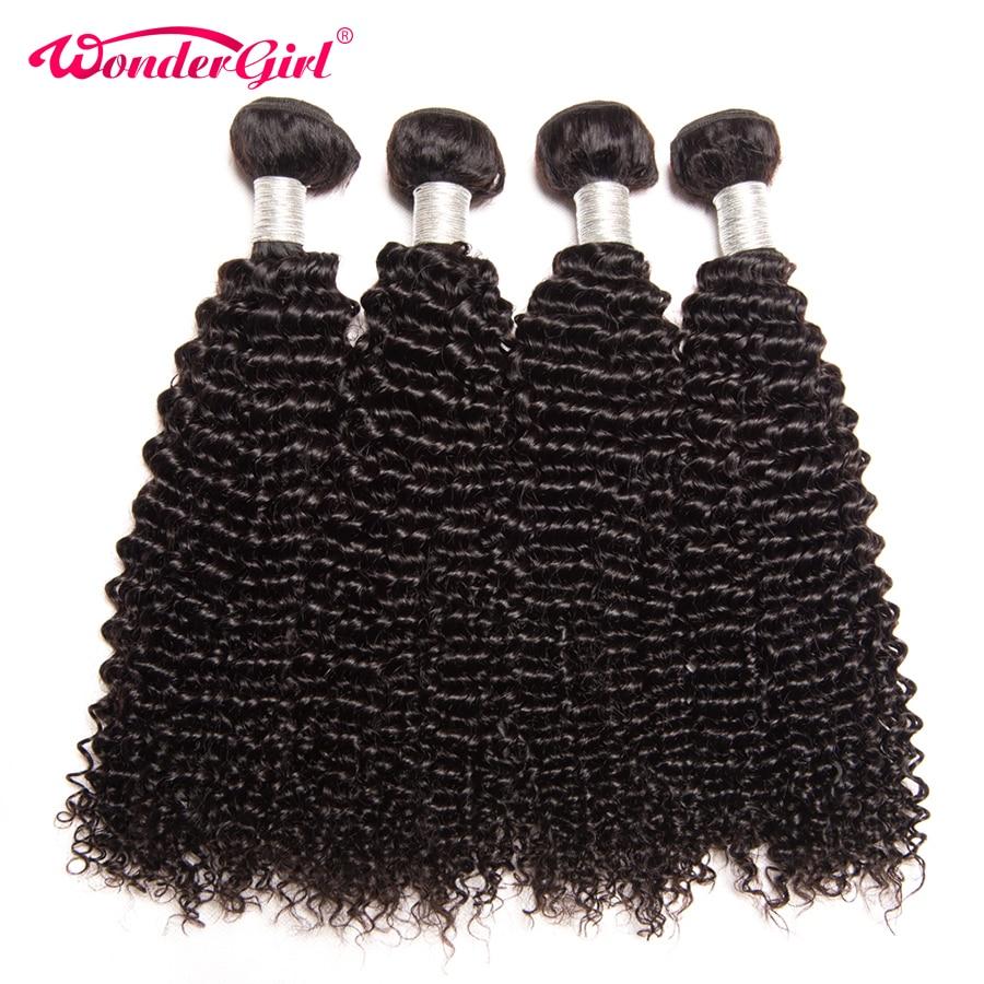 Wonder meisje haarverlenging peruaanse kinky krullend haar bundels - Mensenhaar (voor zwart) - Foto 3