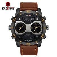 KADEMAN Digital Analog Men Watch TOP Brand Waterproof Chronograph Leather Sport Military Watches Fashion Clock Relogio Masculino
