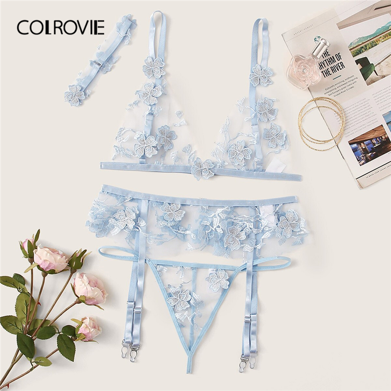 COLROVIE Blue Applique Sheer Garter Sexy Lingerie   Set   With Choker Women Intimates 2019 Transparent   Bra   And Thongs Underwear   Set