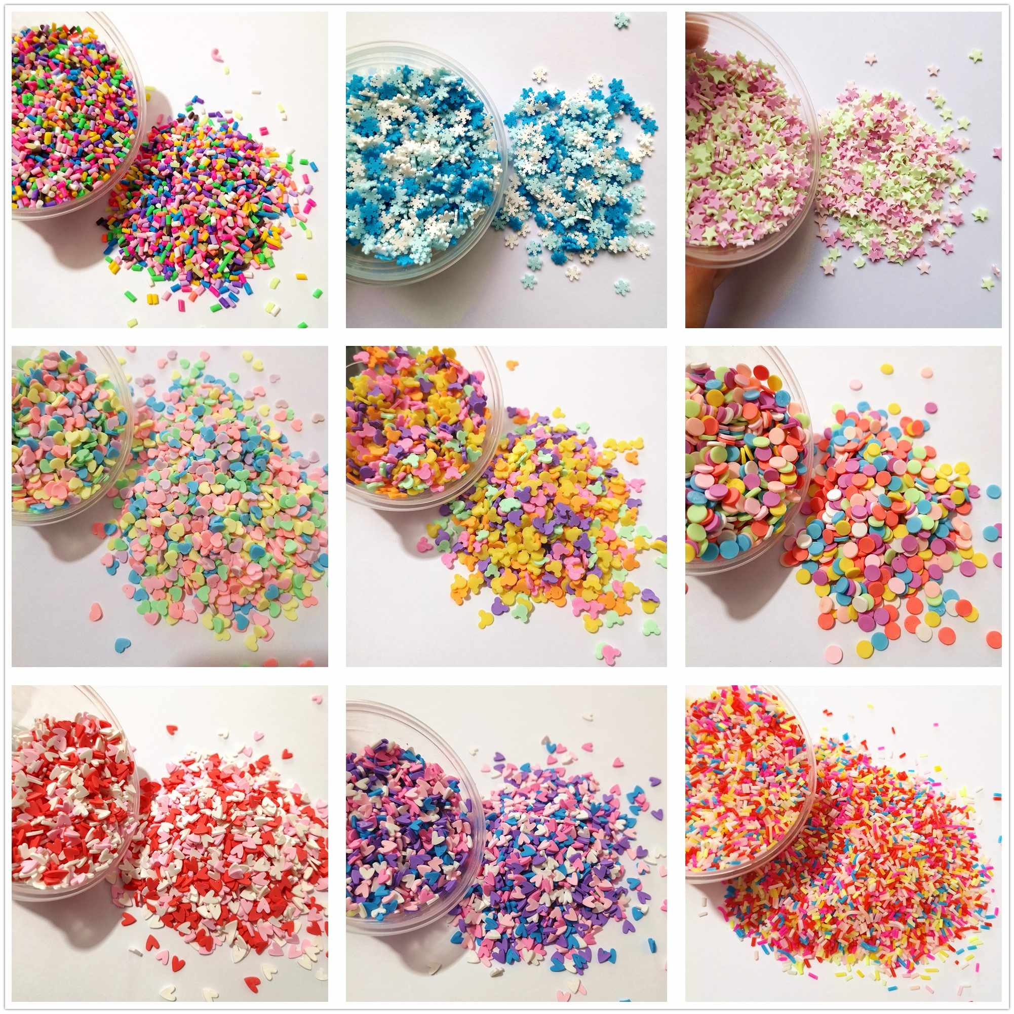100g/bag Slime Clay Sprinkles Filler Toys Accessories Candy Fake Cake Dessert Mud Decoration