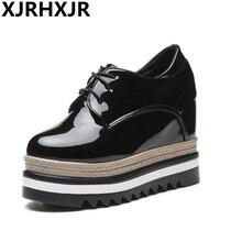 2017 Women Pumps Platform Black Lace Up Shoes Women Casual Shoes Wedges Hidden Heel Patent Leather High Heels недорого