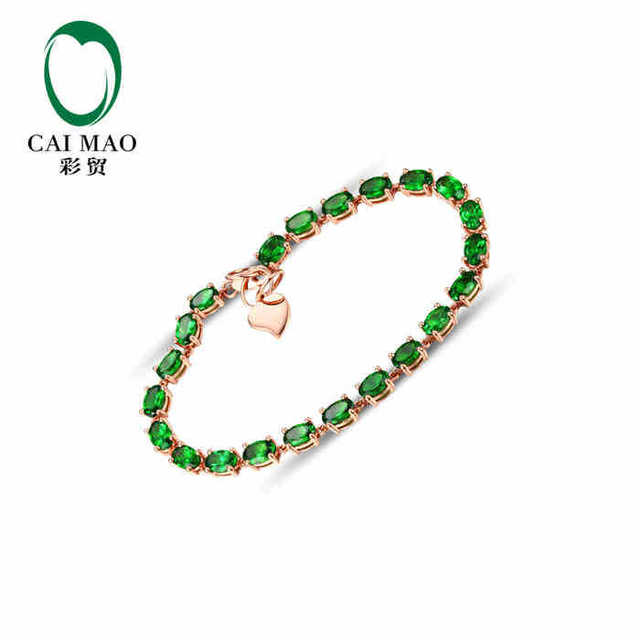 CaiMao 18KT/750 Rose Gold 10.0 ct Natural Tsavorite &  ct Round Cut Diamond Engagement Gemstone Bracelets Jewelry