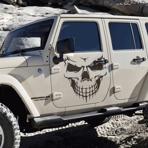 Image 2 - Large Size 40x36CM Skull Head Car Stickers and Decals Reflective Vinyl Car Styling Auto Engine Hood Door Window Car Decal