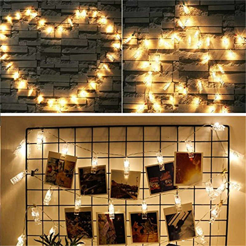 BHomify 1.5M 10 LED String Lights Christmas Tree Ornaments Starry Battery Card Photo Clip Fairy Lights Christmas Decorations