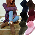 Lala ikai mujeres clásicas botas de nieve que hace punto de lana manguito patchwork mujer ug australiano warm plush furry zapatos planos de algodón xwn0926