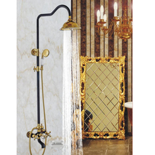 Black bath shower set Luxury shower set Ceramic flower is aspersed Bathroom Gold Wall Shower Sets