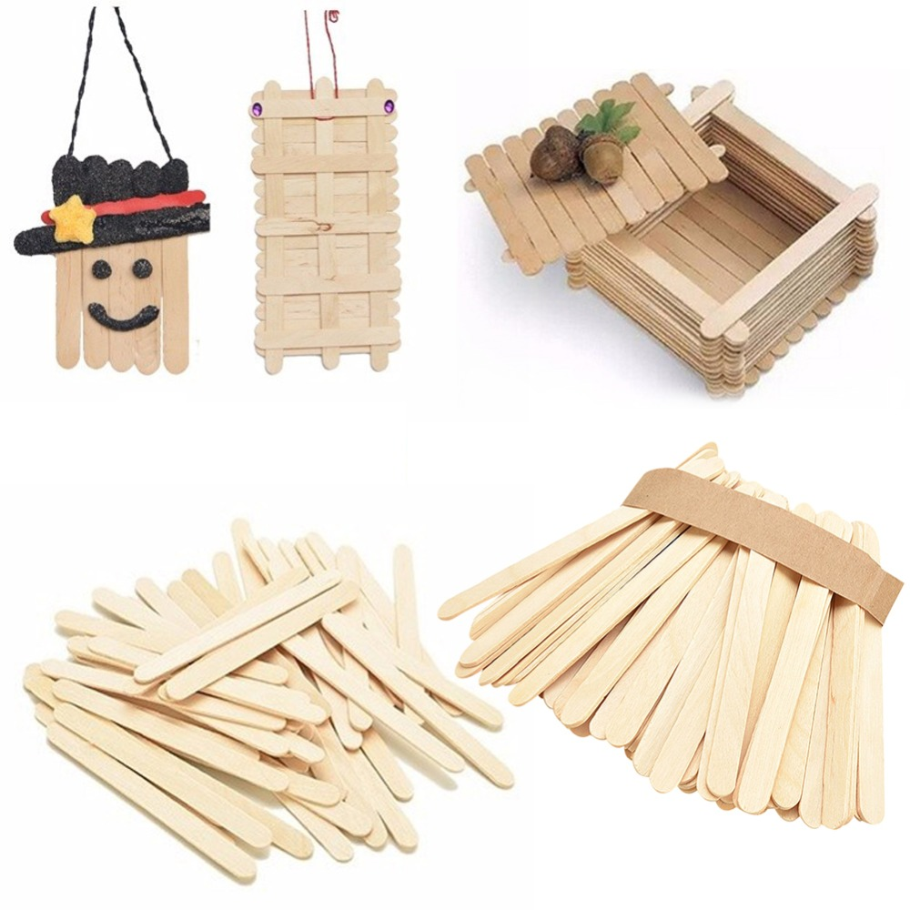 Us 1 15 23 Off 50pcs Lot Ice Cream Stick Natural Wooden Popsicle Stick Kids Diy Hand Crafts Art Ice Cream Lolly Cake Tools Craft Gifts In Ice Cream
