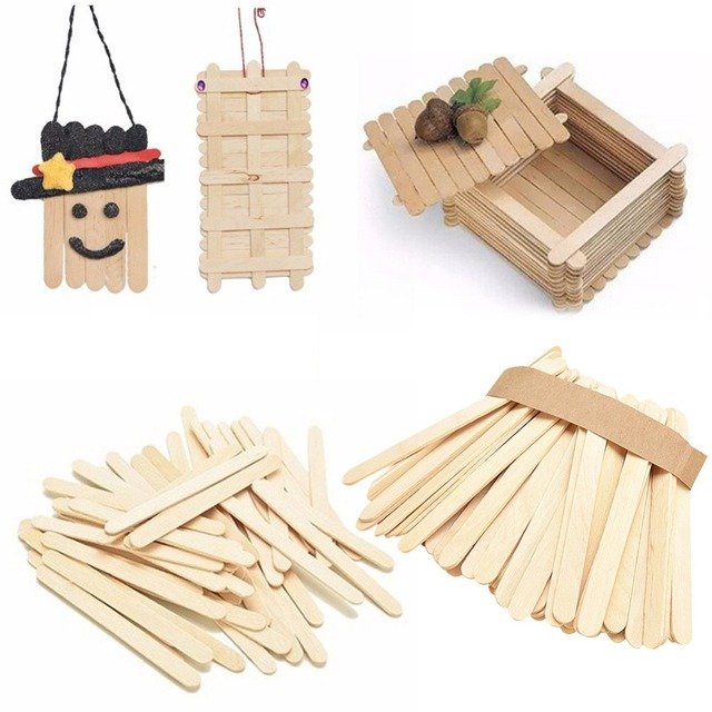 50Pcs Lot Ice Cream Stick Natural Wooden Popsicle Kids DIY Hand Crafts Art