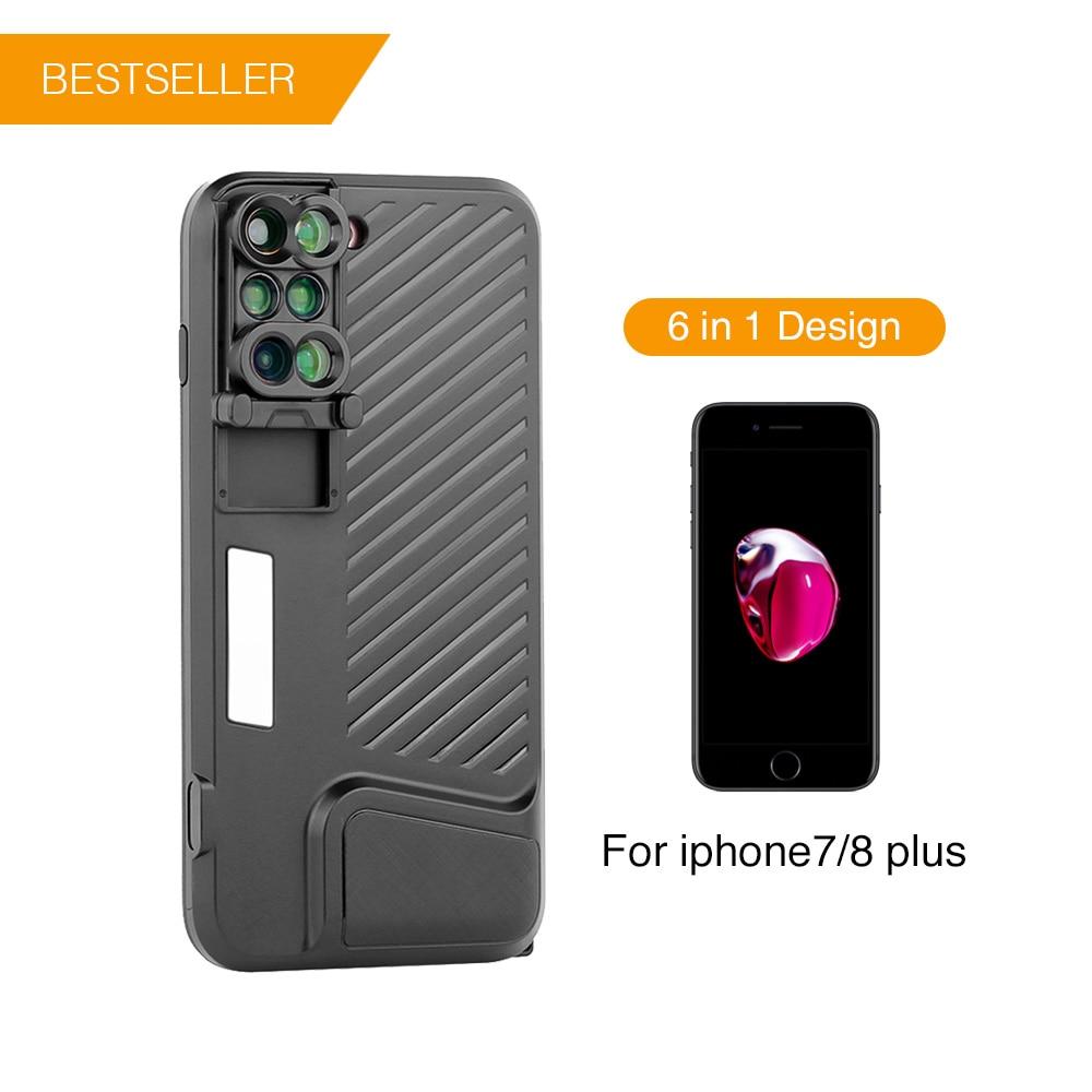 ET 6 dans 1 Multifonctionnel Téléphone Lens Case Cover Double Caméra Lentilles Fisheye Téléobjectif grand angle Macro Objectif pour iPhone 7/8 Plus