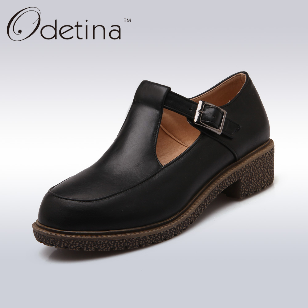 Odetina Women Low Heel Black Mary Jane Shoes 2018 Spring Buckle Straps Women Flats Ladies Soft Pu Leather Casual Shoes Plus Size odetina 2017 new women pointed metal toe loafers women ballerina flats black ladies slip on flats plus size spring casual shoes