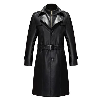 M- 4XL!!  ! 2018  Ultra Long Paragraph Leather Trench Autumn And Winter Leather Clothing Male Overcoat Outerwear Plus Size