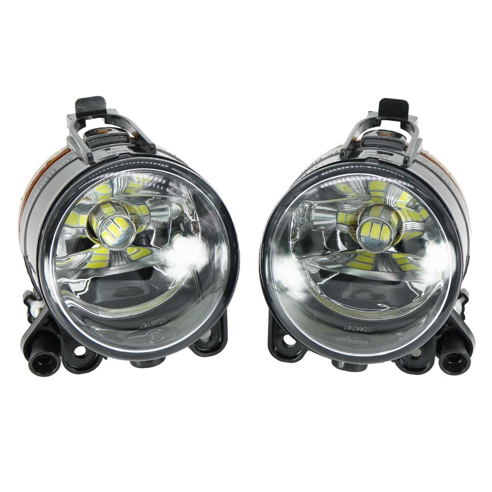 2Pcs Car LED Light For VW Golf 5 Golf MK5 2004 2005 2006 2007 2008 2009 Front LED Fog Light Fog Lamp With LED Bulbs white fog light grille foglamps grill cover for vw golf rabbit mk5 2003 2009 with hardness switch h3 bulbs p98