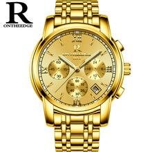 a13225bfeb4 Multifunções Mens relógios de luxo de ouro quartzo homem relógio de aço  inoxidável à prova d  água de Negócios Suíça ONTHEEDGE m.