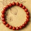 Rojo Pulseras de Perlas Naturales 10mm-16mm Zhanguo Joyería de Jade Pulsera de Ágata Roja Suerte Accesorios para Hombres y Mujeres
