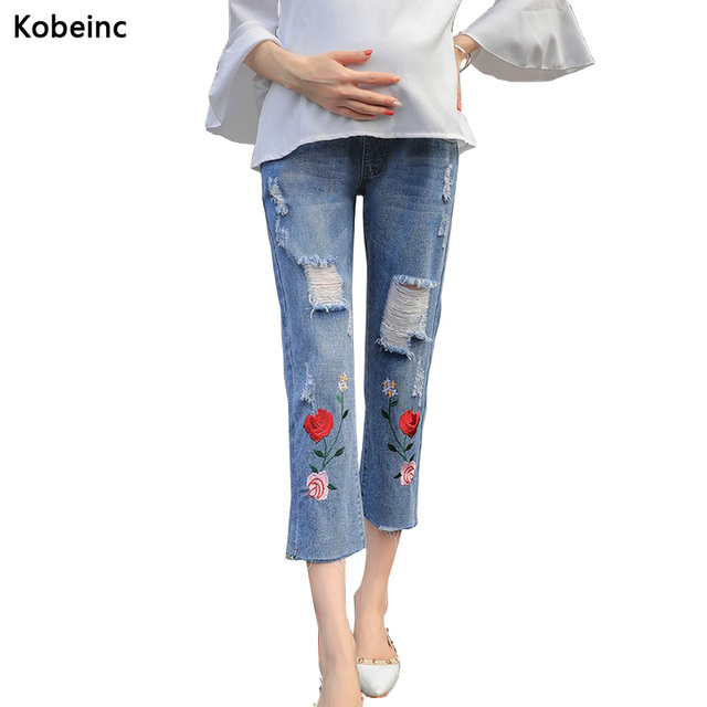 e65d1b356 Fashion Hole Jeans Embroidered Maternity Pants Care Belly Ripped Denim  Cropped Pants For Pregnant Women Pantalones De Maternidad