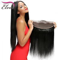 Elva Hair Silky Straight Brazilian Remy Hair 8 20 Free Part Bleached Knots Lace Frontal Closure