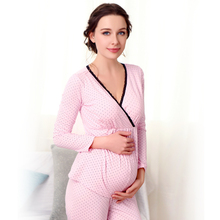 Winter and Autumn Women Pink Full Sleeve Pregnant Clothes Maternity Sleepwear Cotton Maternal Nursing Breastfeeding Pajamas