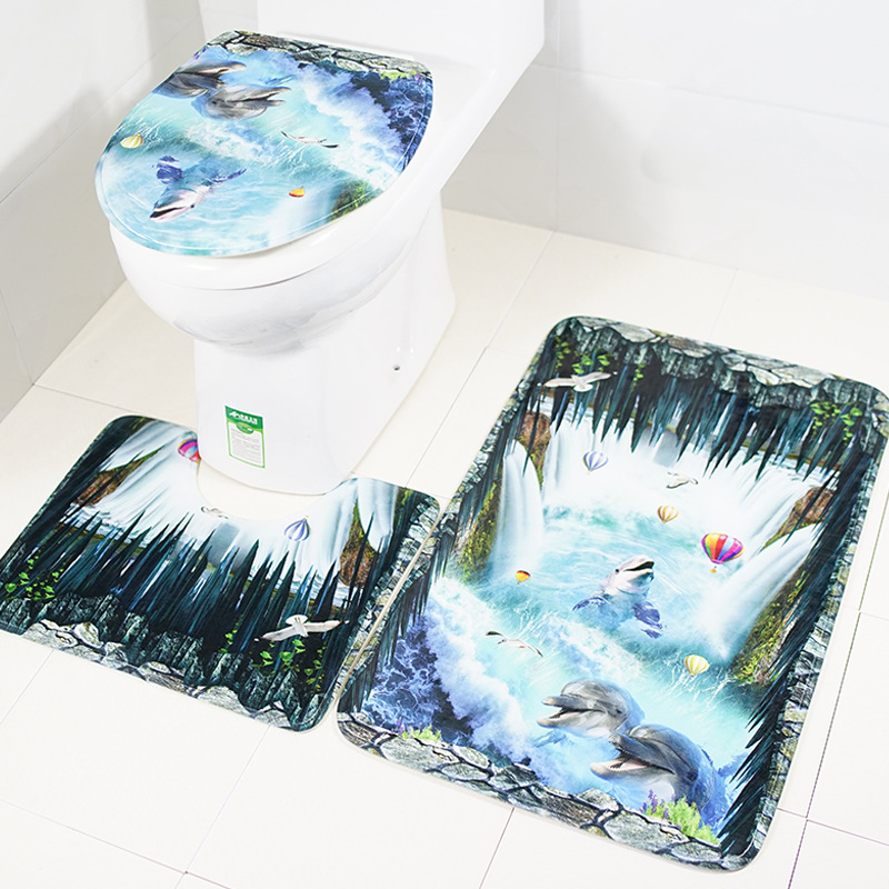 US $14 61 22% OFF|3pcs/set New Dolphin Flannel Fabric Toilet Seat Cover Sea  Style Overcoat Toilet Case Bathroom Door Non slip Mat Home Decoration-in