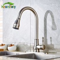 Wholesale And Retail Brushed Nickel Kitchen Sink Faucet Pull Out Sprayer Mixer Faucet W 8 Cover