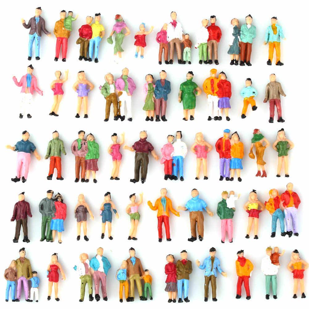 100 шт хо масштаб Окрашенные фигуры люди Модель Масштаб 1: 87 Модель поезд пассажиры Ассорти поза