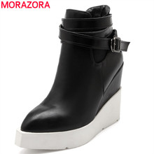 MORAZORA Plus size 34-43 newest wedges boots high heels platform autumn winter women boots fashion female ankle booties