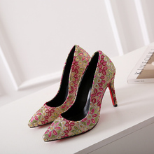Women's Ethnic Embroidery High Heels Pumps Pointed Toe Slip-on Ladies Heeled Shoes Sexy Red Bottom Heels Footwear Wedding Shoes