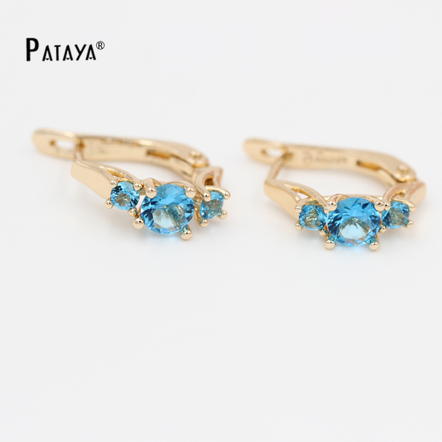 Pataya Shire Rose Gold Earrings Three Round Natural Blue Zircon Little India Jewelry Crystal