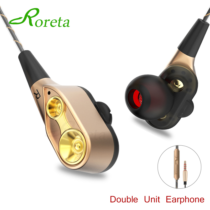Roreta Dual Drive Stereo Earphone In-ear Sport Headset Earbuds Bass Earphones With Mic For IPhone Huawei Xiaomi Fone De Ouvido